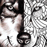 original wolf mandala half sleeve tattoo design references created by tattoo artist