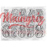 chicano numbers lettering tattoo design