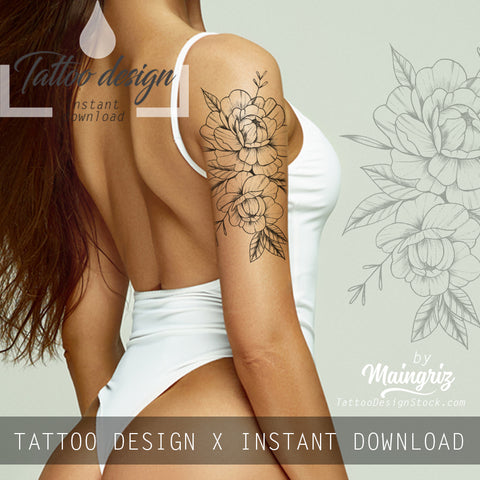 Peony linework half sleeve  - tattoo design download