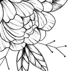 Peony linework half sleeve high resolution download