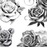 5 realistic roses of tattoo designs in black and grey style.