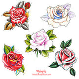 5 originals roses custom tattoo design in new school and neo traditional tattoo style
