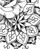 Roses pearls mandala tattoo design high resolution download