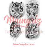 4 x Realistic tiger temporary tattoos