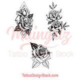 3 x Realistic roses temporary tattoos