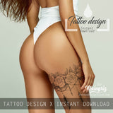 amazing sexy lacer garte with roses and feathers tattoos for girls in instant download