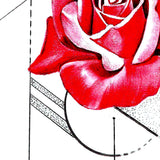 Realistic red rose and precious stone  tattoo design high resolution download