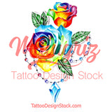 Realistic rose with precious stone tattoo design high resolution download