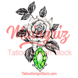 Realistic rose with emerald tattoo design high resolution download