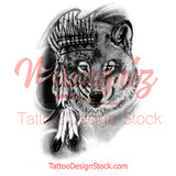 Realistic wolf tattoo design high resolution download