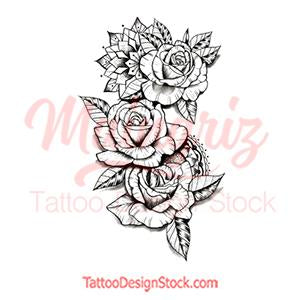 Rose linework tattoo design high resolution download