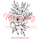 Sexy peony half sleeve linework high resolution download