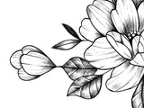 Sexy peony linework sideboob  tattoo design high resolution download