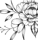 Peony sideboob linework tattoo design high resolution download$