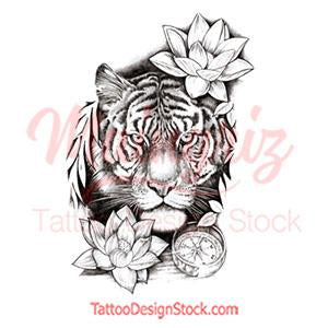 Realistic tiger with lotus tattoo design high resolution download