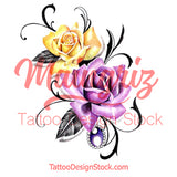 Two realistic roses with precious stone tattoo design high resolution download