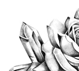 Two precious stone with realistic rose tattoo design high resolution download