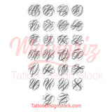 original chicano capitals alphabet tattoo design