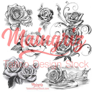 b7200f473279b 5 roses of tattoo designs in black and grey style. – Tattoo Design Stock