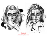 amazing chicano girl faces tattoo design