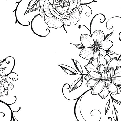 Flowers arabesque Tattoo design