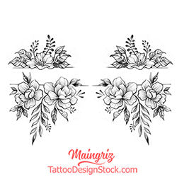 original flowers forearm tattoo design digital downlaod