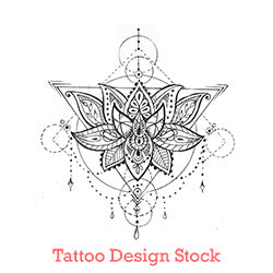 Geometric lotus mandala tattoo design digital download