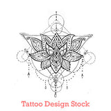 Geometric lotus mandala temporary tattoo