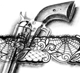 Amazing Gun in lace garter tattoo design