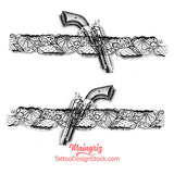 Gun in lace garter temporary tattoo