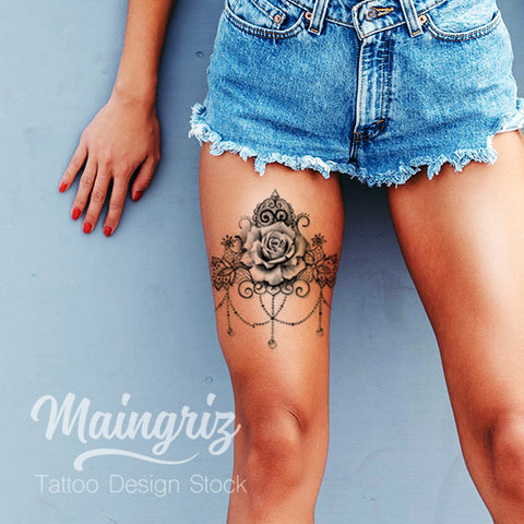 Sexy Lace Garter With Rose Tattoo Design Tattoo Design Stock