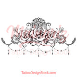 sexy oriental roses lace garter sexy girls tattoo ideas