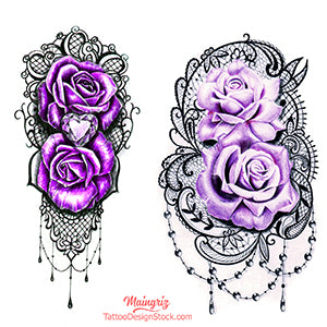 sexy lace purple roses tattoo designs