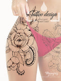sexy oriental linework rose tatoo design
