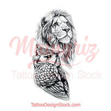 Realistic lion and owl tattoo design high resolution download