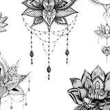 6 Lotus mandala temporary tattoos