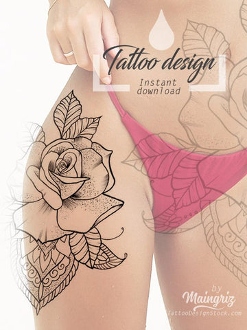 rose linework mandala tattoo design digital download by tattoo artists