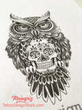 owl with sugar skull tattoo design digital download by tattoo artists