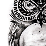 owl with skull tattoo design digital download by tattoo artist