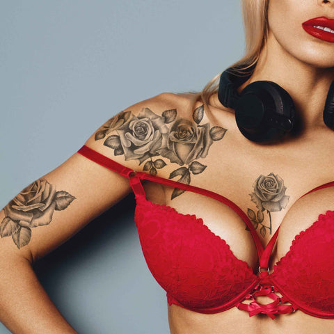 realistic sexy roses temporary tattoo