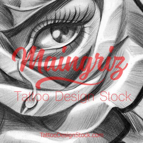 rose and eye chicano tattoo design