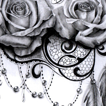 690b61d73901f rose lace with feathers and pearls tattoo design digital download ...