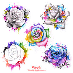 5 Roses watercolor digital tattoo design references