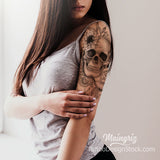 skull and rose with lace half sleeve tattoo design