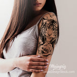 realistic tiger and roses sleeve tattoo design references created by tattoo artist