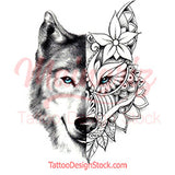 Mandala wolf tattoo design references digital download
