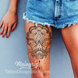 sexy oriental mandala leg tattoo design references