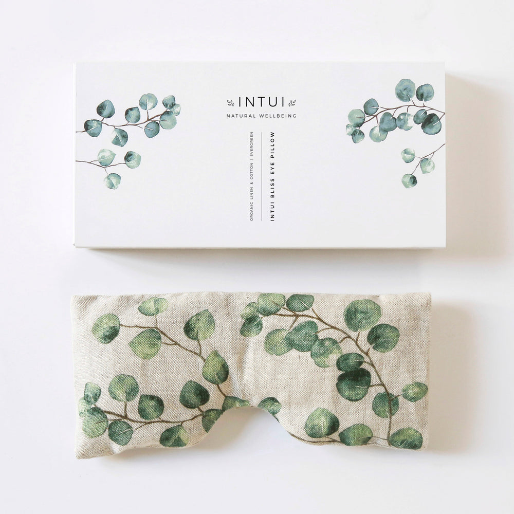Intui Bliss Eye Pillow, Evergreen Print, Made with Organic Linen and Cotton