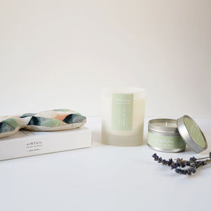Neroli, Mandarin, Rosemary and Lavender Glass Candle, Travel Candle and Eye Pillow