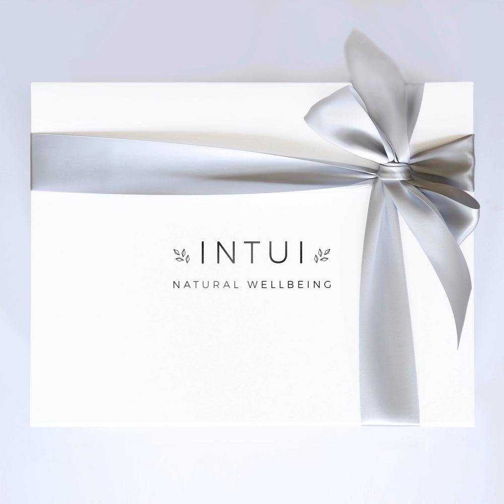 Intui Self-Care Gift Box, Closed with Satin Ribbon. Natural Yoga and Wellbeing Range
